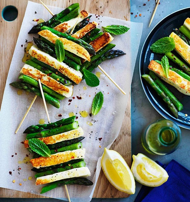 Haloumi and Asparagus skewers
