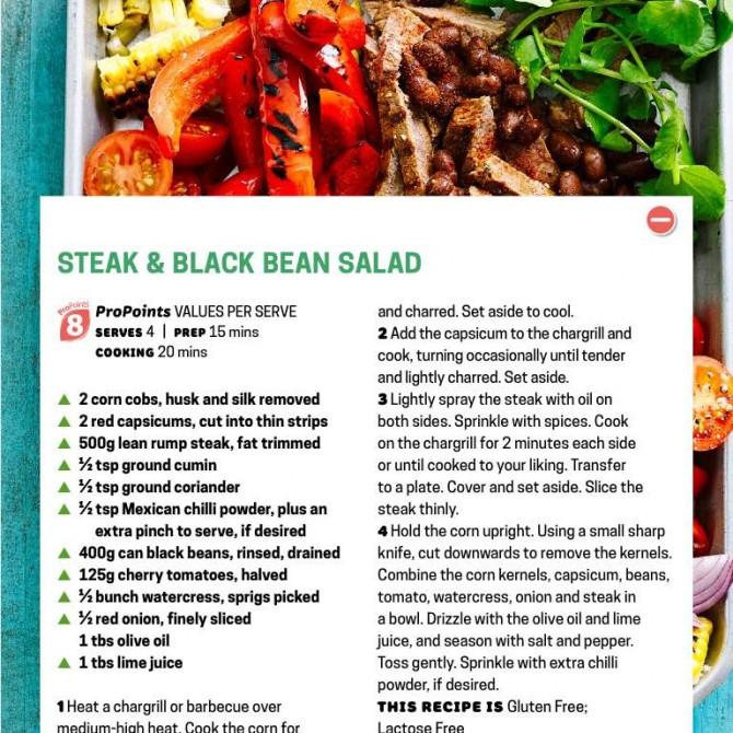 WW steak and black bean salad